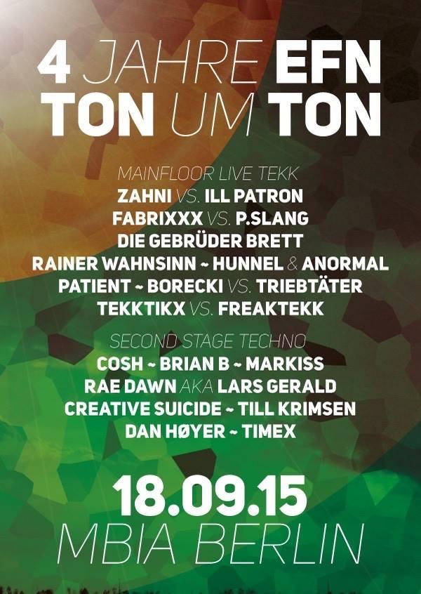 Berliner Sound DJ Till Krimsen 4 JAHRE EFN - TON UM TON @Mbia Club Berlin