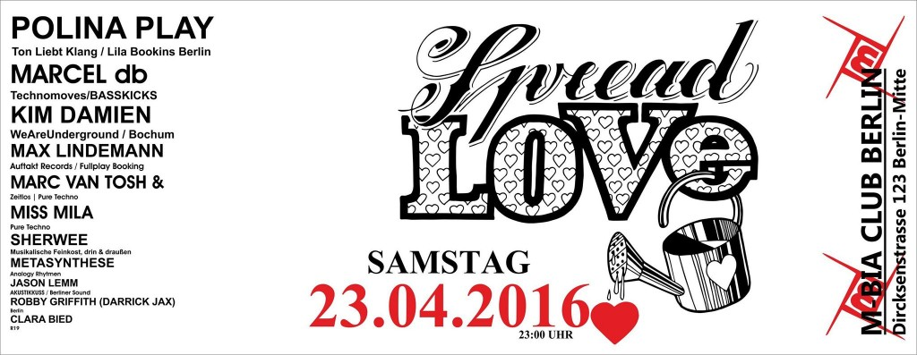 Spread Love im MBia Club Berlin mit Marcel db, Sherwee und Jason Lemm