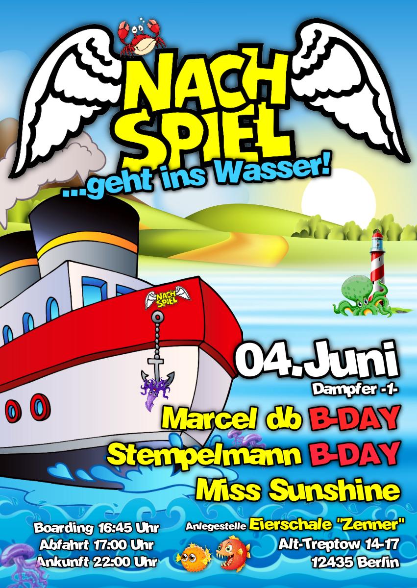 Marcel db, Stempelmann und Miss Sunshine bei NACHSPIEL geht ins Wasser